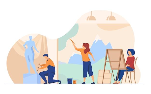 Artisti che creano l'illustrazione piana delle opere d'arte Vettore gratuito