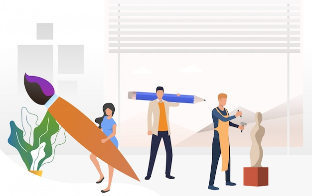 Artists holding brush and pencil, sculptor working on sculpture Free Vector