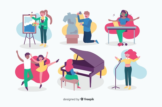 Artists at work collection with dancers Free Vector