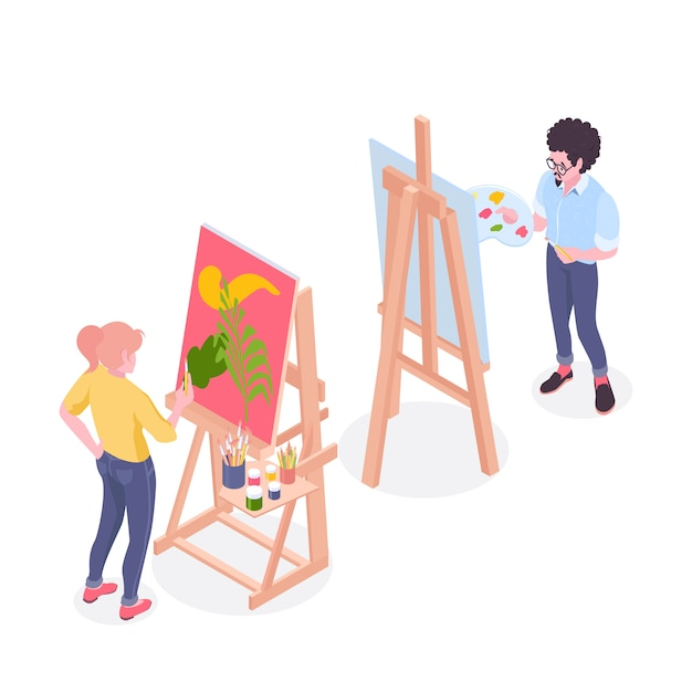 Artists working on painting standing at easel in drawing studio with pallet and brushes isometric illustration Free Vector