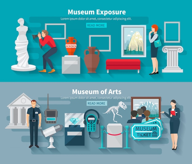 Arts and paleontology museum horizontal banner set Free Vector