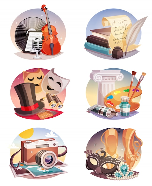 Arts round compositions set Free Vector