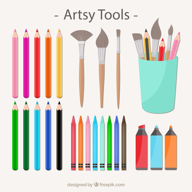 Artsy tool collection Free Vector