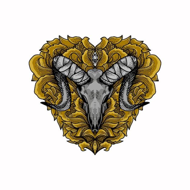 Artwork animal skull with love floral ornament Premium Vector