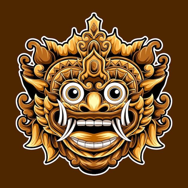 アートワークバロン文化バリインドネシアのデザインイラスト Premiumベクター