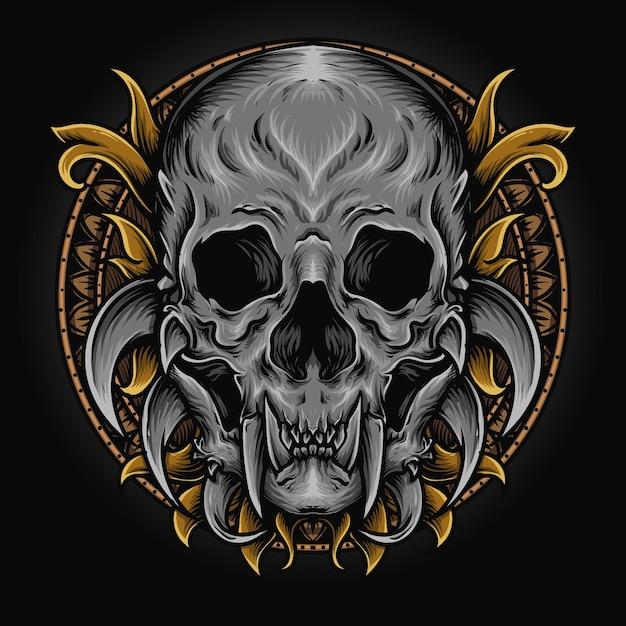 삽화 삽화 및 T- 셔츠 디자인 괴물 두개골 조각 장식 프리미엄 벡터
