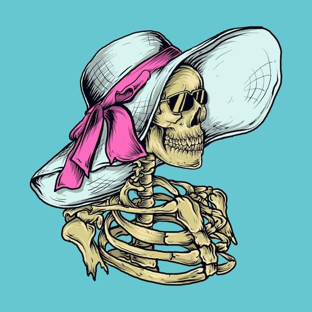 アートワークのイラストとtシャツのデザインのスケルトンの女性とビーチ帽子 Premiumベクター