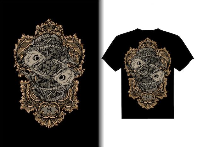 Artwork illustration for t-shirt design pisces skeleton zodiac skull Premium Vector