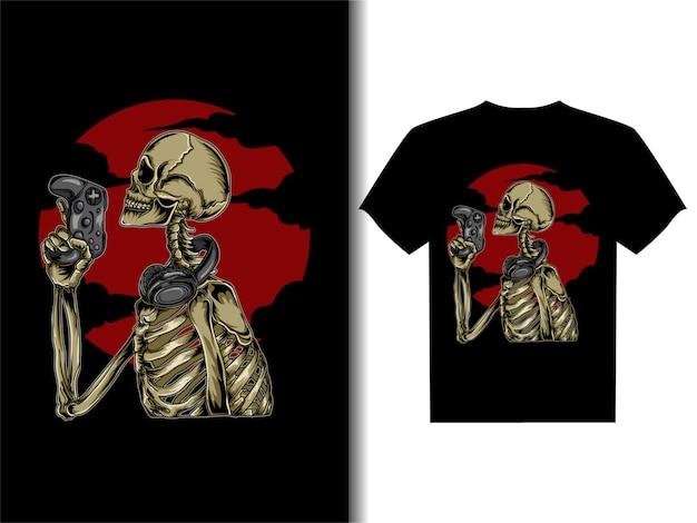 Artwork illustration for t-shirt design skeleton gamer Premium Vector