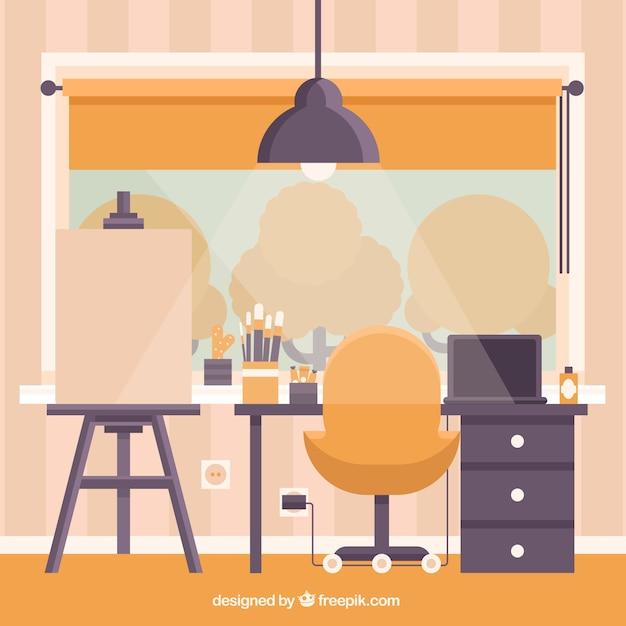 Artwork room in flat design