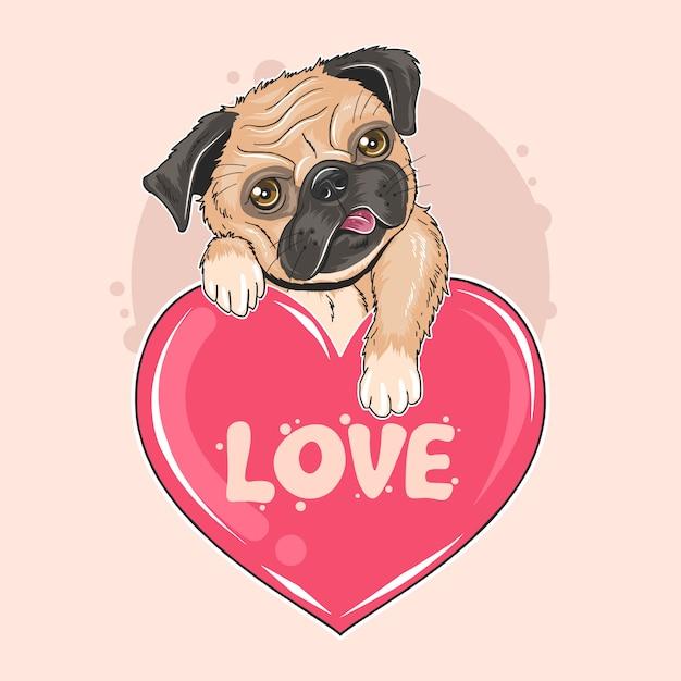 Пуг собака валентина щенок artwork Premium векторы