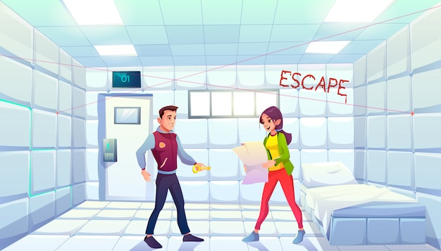 出口を探している人々と一緒にクエストエスケープas護室 無料ベクター