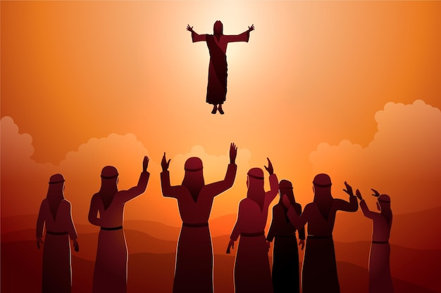 Ascension day illustration with jesus and followers Free Vector