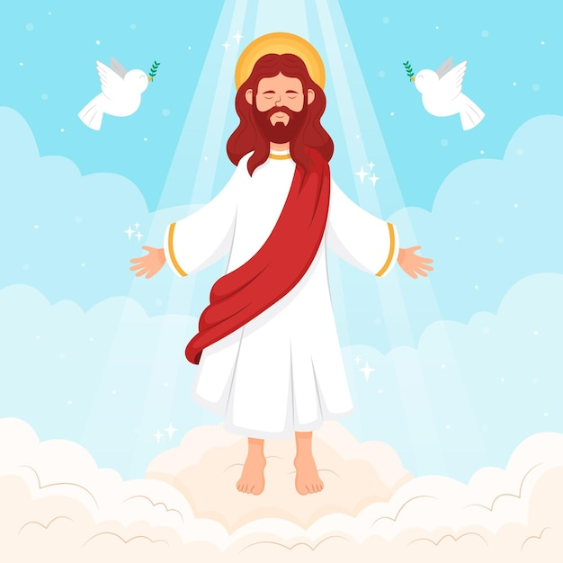 Ascension day of jesus and pigeons Premium Vector