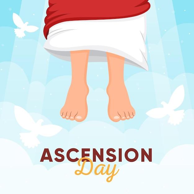 День вознесения неба и голубей Бесплатные векторы