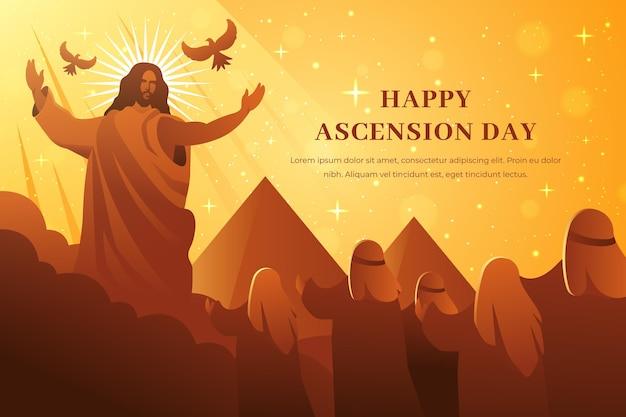 イエスとピラミッドのある昇天の日 無料ベクター