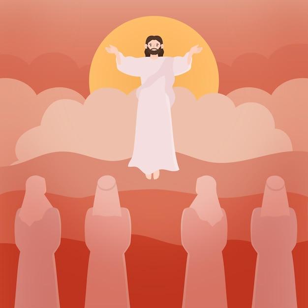 昇天聖木と信者 無料ベクター