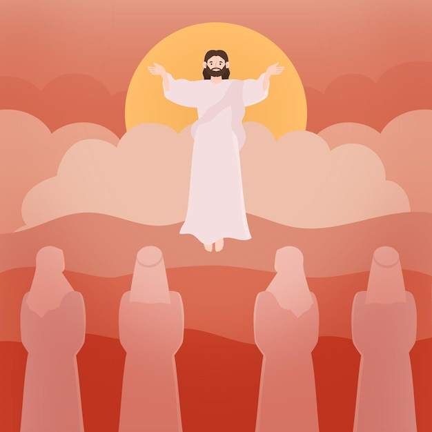 Ascension holy thursday and followers Premium Vector
