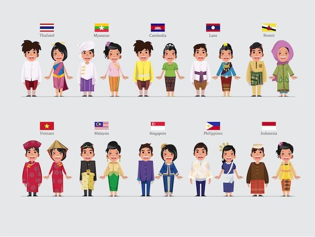 Asean character in traditional set Premium Vector