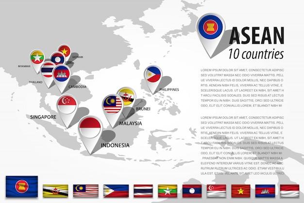 Asean and gps navigator location pin Premium Vector