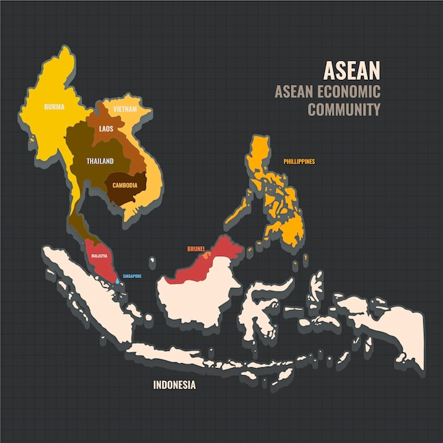 Asean map flat design illustration Free Vector