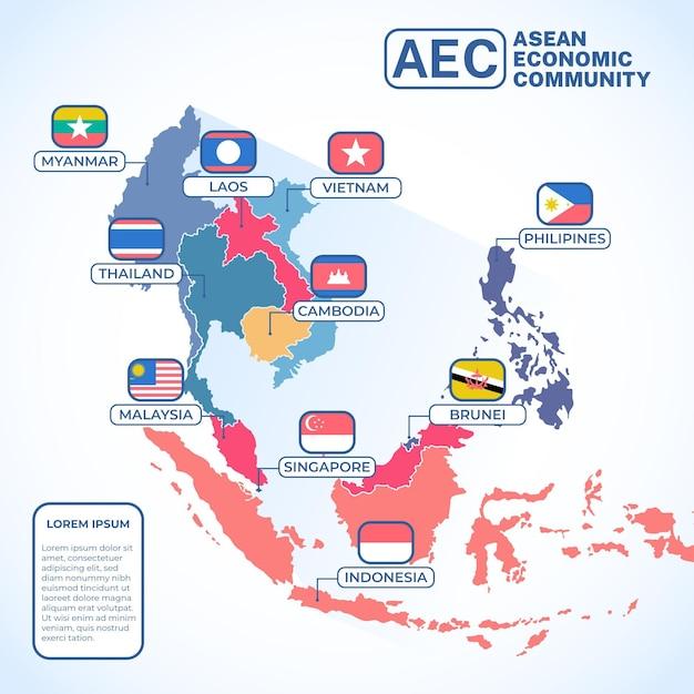 Asean map illustration Premium Vector