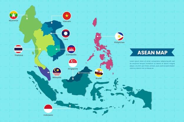 Asean map illustration Free Vector