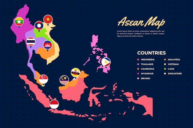Asean map illustration Free Vector
