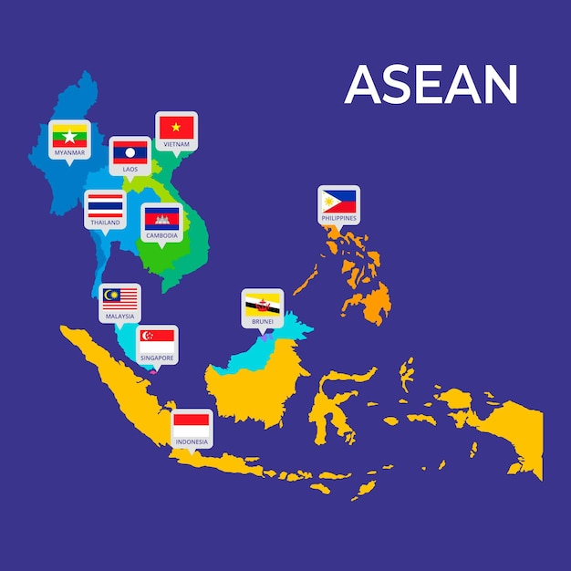 Asean map infographic Free Vector