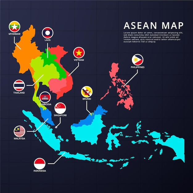 アセアン地図のインフォグラフィック 無料ベクター