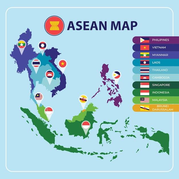 Asean map Premium Vector