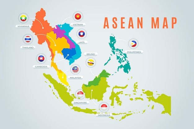Asean map Premium Vector