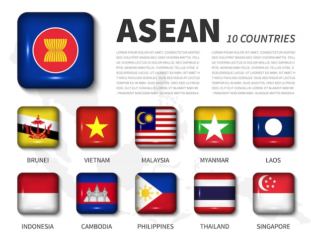 Asean and membership. shiny round angle square button flag Premium Vector