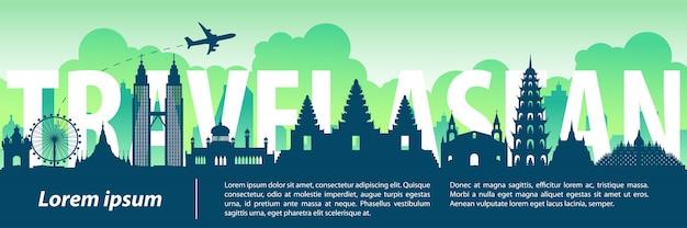 Asean top famous landmark silhouette style Premium Vector
