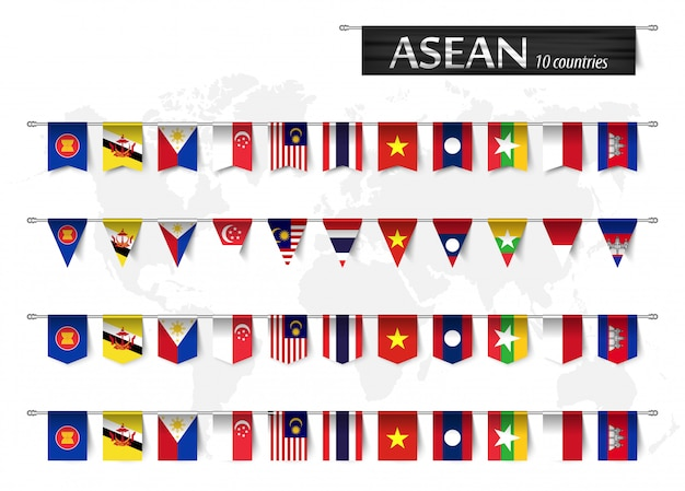 Asean  and various shape nation flag of country membership Premium Vector
