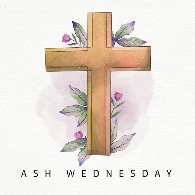 애쉬 수요일 수채화 십자가 무료 벡터