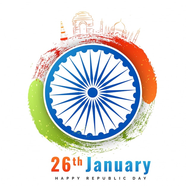 Ashoka chakra with doodle monuments of india 0743de6e19b6
