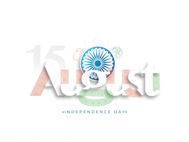 Ashoka wheel on white background for happy independence day celebration. Premium Vector