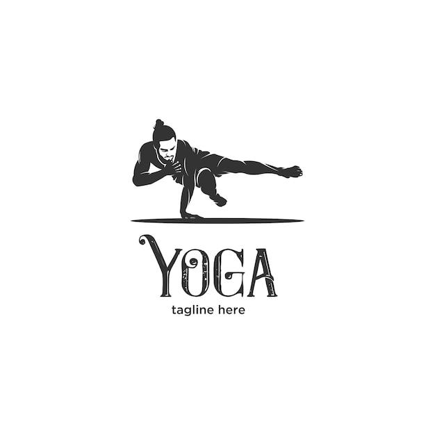 Ashtanga yoga postures silhouette logo Premium Vector