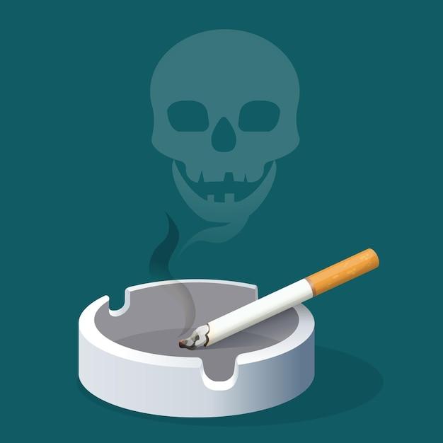 煙で作られたタバコと頭蓋骨の灰皿。セラミックトレイにフィルター付きの喫煙タバコ。有害な習慣の危険性を警告するリアルなイラスト。健康へのリスクを伴う中毒 Premiumベクター