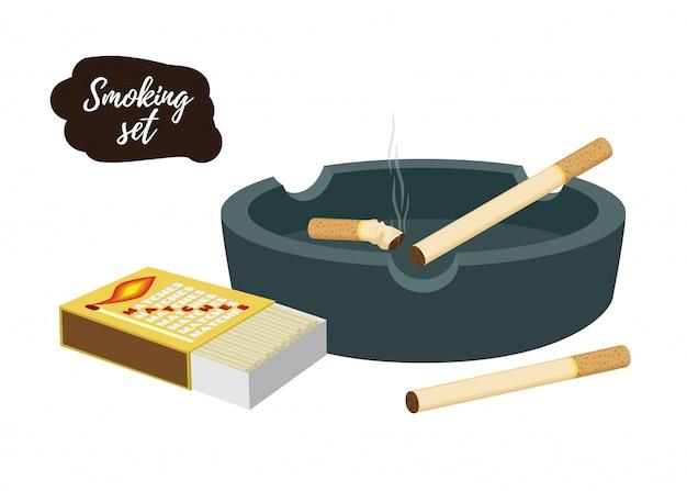 たばこの吸い殻付き灰皿、マッチ箱 Premiumベクター