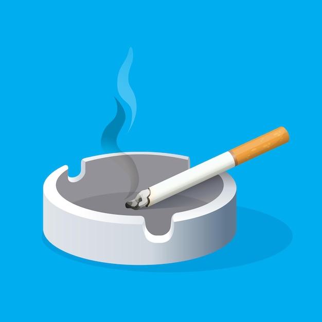 青い背景に火のついたタバコと灰皿。セラミックトレイにフィルター付きの喫煙タバコ。有害な習慣のリアルなイラスト。喫煙場所。健康へのリスクを伴う中毒 Premiumベクター