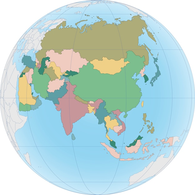 Asia continent is divided by country on the globe Premium Vector