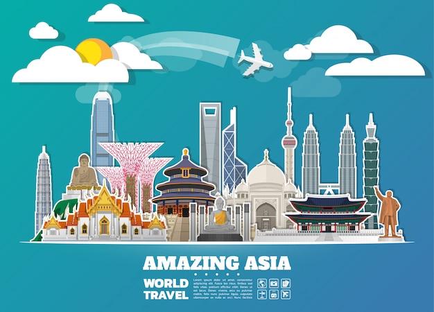 Asia famous landmark paper art Premium Vector