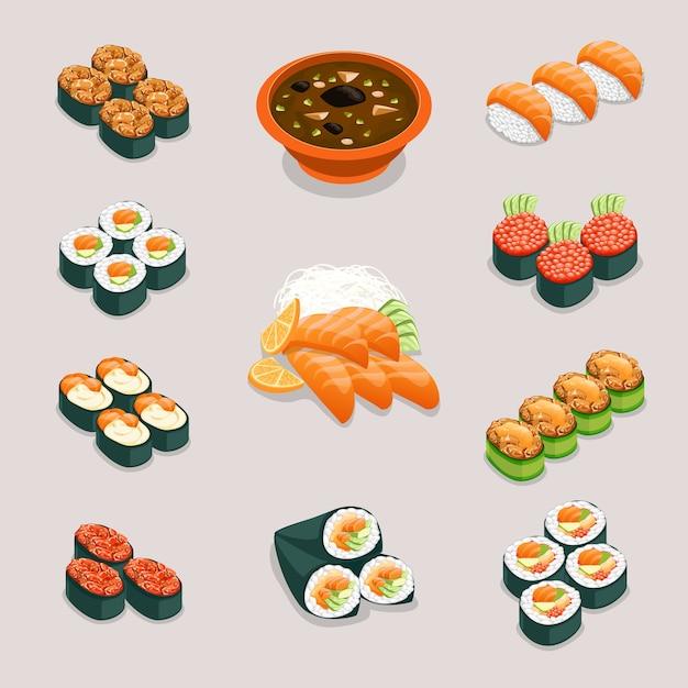 アジア料理のアイコン。ロールパンと寿司、味噌汁と刺身。レストランとおいしいメニュー、日本または中国の栄養、 無料ベクター