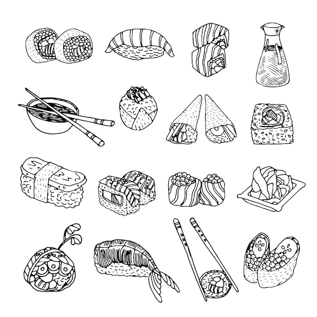 Asia food sushi icons set Free Vector