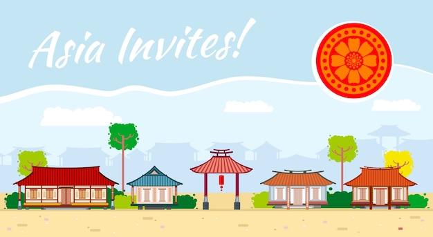 아시아 그림 동양 문화, 전통 관광 무료 벡터