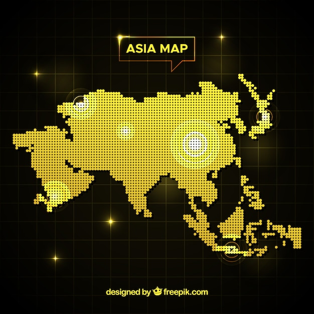 Asia map background with dots Free Vector