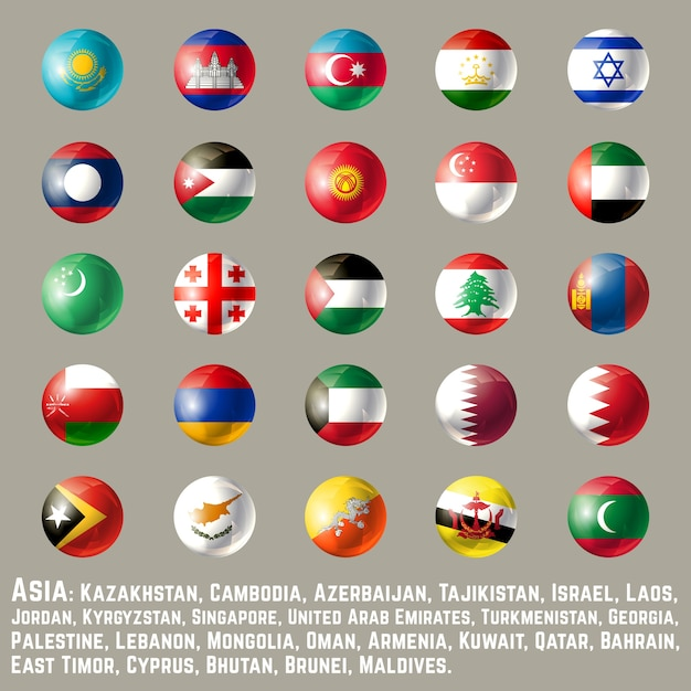 Asia round button flags two Premium Vector