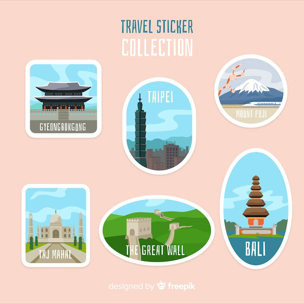Asia sticker collection Free Vector
